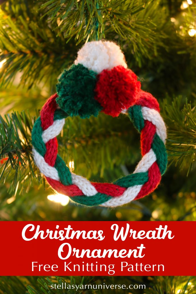 Christmas Wreath Ornament - Free Knitting Pattern