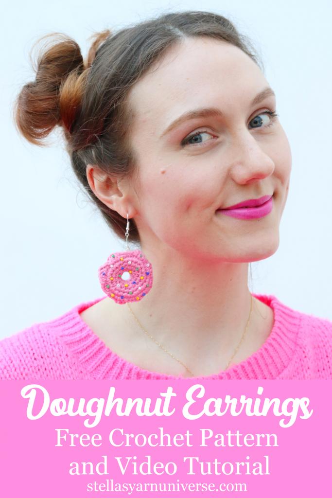 Doughnut Earrings | Free crochet pattern and video tutorial | stellasyarnuniverse.com