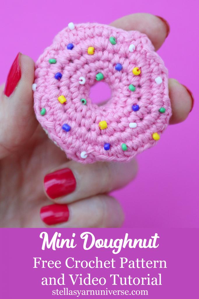 Mini Crochet Doughnut | Free crochet pattern and video tutorial | stellasyarnuniverse.com