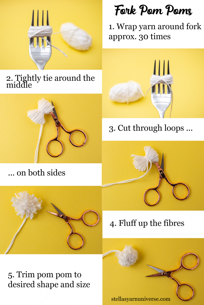 Fork Pom Pom | How to make a tiny pom pom | stellasyarnuniverse.com