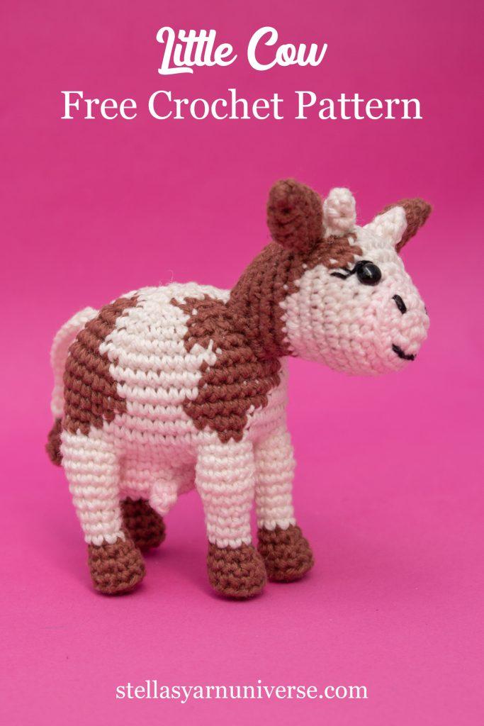 Amigurumi Cow Free Crochet Pattern #freeamigurumipattern stellasyarnuniverse.com