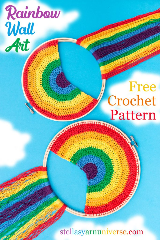 Rainbow Wall Art Free Crochet Pattern | stellasyarnuniverse.com #freecrochetpattern #rainbowwallart