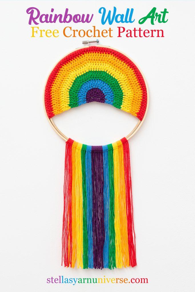 Rainbow Wall Hamnging Free Crochet Pattern | stellasyarnuniverse.com #freecrochetpattern #rainbowwallart